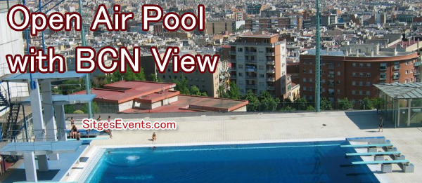 Montjuic Pool views over Barcelona